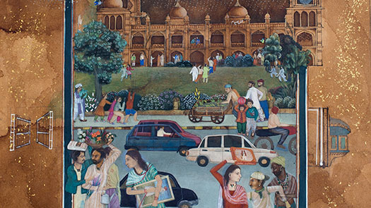 Saima Rasheed, Walk to School II, 30 x 38cm, Gouache and gold on tea stained paper, courtesy of artist
